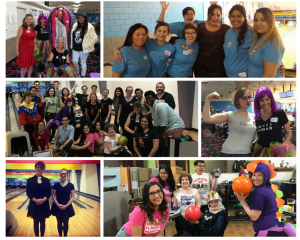 collage of photos from bowl-a-thon events