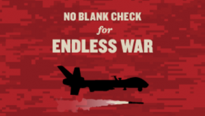 no blank check for endless war,